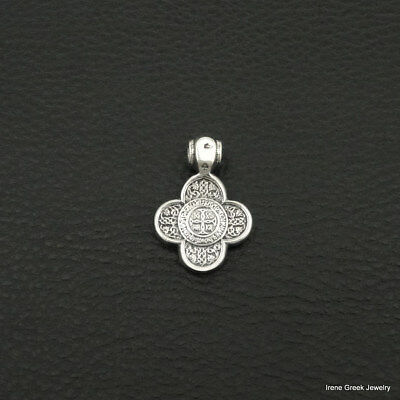Byzantine Cross Double Sided 925 Sterling Silver Greek Handmade Art Unique