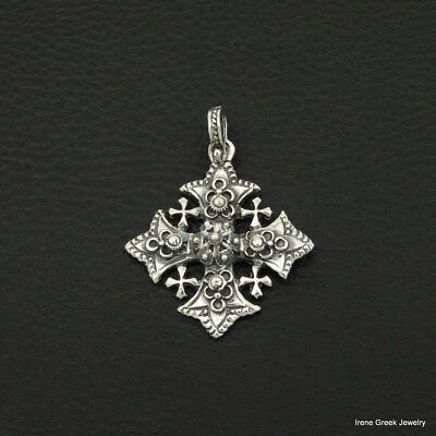 Byzantine Cross 925 Sterling Silver Greek Handmade Art Luxury