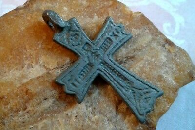 "UNIQUE 16-17th CENTURY RUSSIAN NORTH ""OLD BELIEVERS"" ORTHODOX ""FOOTED"" CROSS"
