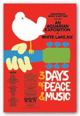 Woodstock 3 Days of Peace and Music Red Rock Music Poster 24x36