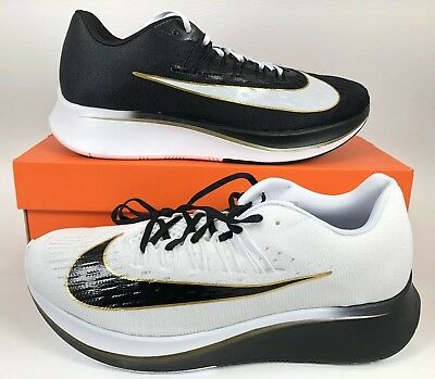 9a253f799ab Nike Zoom Fly Mismatch White Black-Metallic Gold Vaporfly RARE SOLD OUT  Size 12