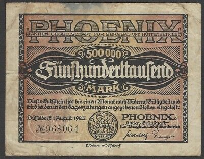 Düsseldorf, Phoenix A.-G.; 500.000 Mark vom 1. August 1923
