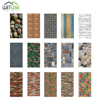 3D Wall Stickers Wallpaper PVC Brick Film Stone Self-adhesive Home Decor 18x39""