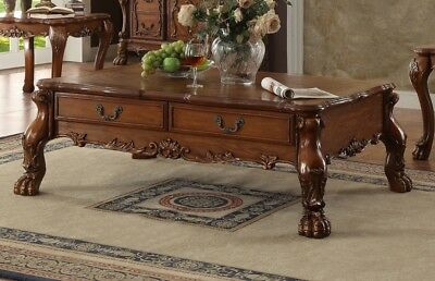 Dresden Traditional 2-drawer Ornate Coffee Table In Antique Cherry Oak,Brown,Red