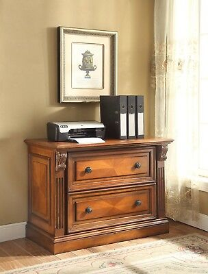 Huntington Traditional Library 2-Drawer Lateral File Rustic Pecan Finish, Brown