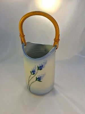 Texas Or Southwestern Stoneware Bluebonnets/Lupine Vase With Wooden Handle