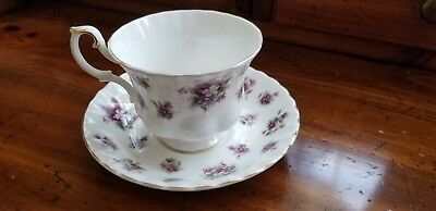 """Royal Albert """"Sweet Violets""""  Footed Demitasse Cup And Saucer"""