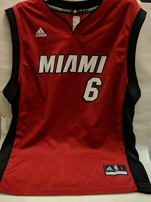 LeBRON JAMES   6 MIAMI HEAT NBA RED Black White Youth Large ADIDAS JERSEY 4e845d53a