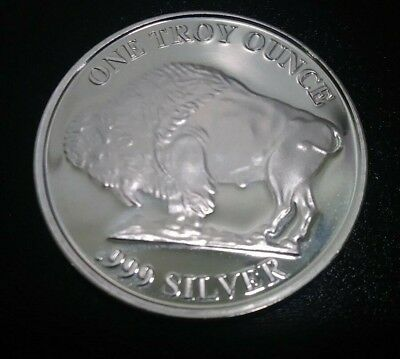 1 Troy oz .999 Fine Silver Liberty Indian Head Buffalo Round Free Shipping