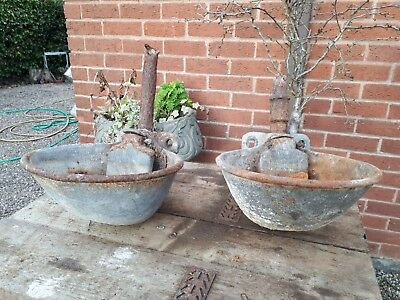 2 old galvanised cattle drinker feeder planters