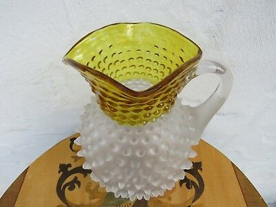 """Antique Hobbs Frances Ware 9"""" Frost Glass Spikes Dew Drop Amber Pitcher (c.1880)"""