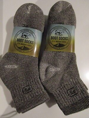 6 Pair Large Outdoor Life 71% Merino Wool Ankle Boot Socks First People 9-12 USA