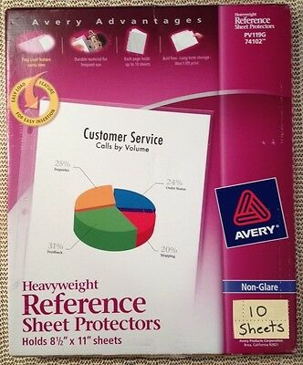 Qty 10, Avery 74102 Heavyweight Sheet Page Protectors, Non-glare, 3 ring, 8.5x11