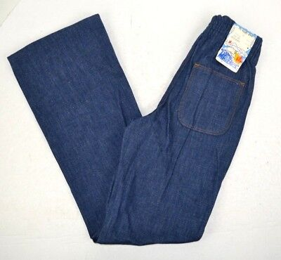 Vintage 1970's Young Maverick Girls Flare Leg Blue Jeans w/ Elastic Back 10