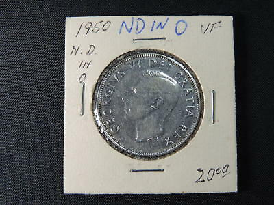 1950 50 Cent Coin Canada Fifty Cents .800 Silver VF Grade No Design (No Des)