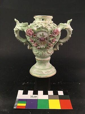 Flower Encrusted Bisque Porcelain Urn Continental Potpourri Vase Reticulated
