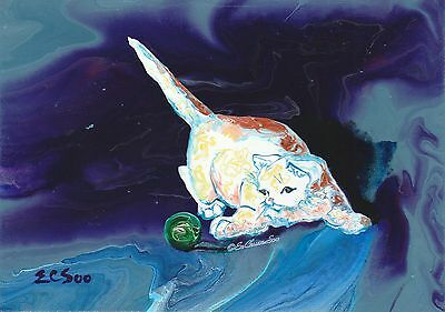 """Kitty Playing Art """"Cat Ball Chase #5"""" Original Acrylic Abstract Painting Artist"""