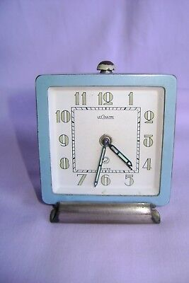 Vintage Lecoultre 2 Day Desk / Alarm Clock Standing On A Steel Foot In Gwo
