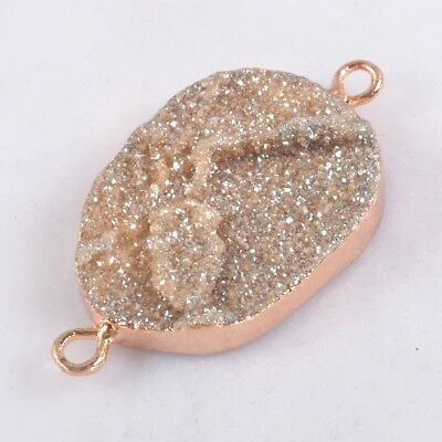 Uneven Natural Agate Titanium Druzy Connector Rose Gold Plated T060420