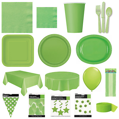 LIME GREEN Party TABLEWARE - Plates/Cups/Cutlery/Napkins/Tablecovers/Balloons