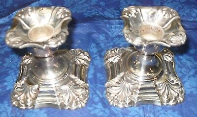 pair of  antique quality silver on copper  plate candlesticks party wedding