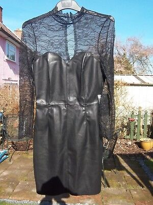 Sexy Zara Black Gothic Fetish Bondage Faux Leather & Lace Detail Dress Size XS 6