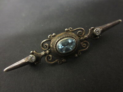 Solid Sterling Silver Pin Brooch With Glass Decoration - Jewellery