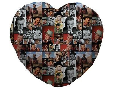 Colour John Wayne Fan Montage Design Heart Shaped Cushion Valentines Day Gift