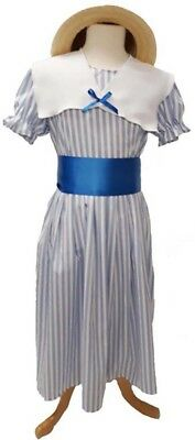 Victorian-Edwardian-Poppins DELUXE POLLYANNA BLUE & WHITE STRIPED DRESS & BOATER