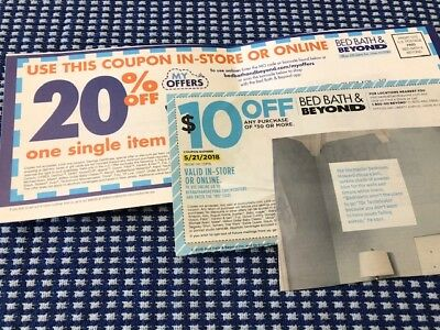 Bed Bath & Beyond 2 coupons 20% single item  & $10 off $35 in store