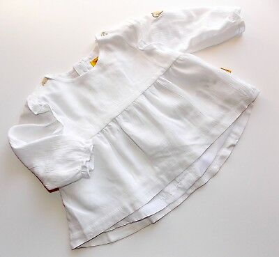 Steiff Newborn Girls Bluse / Tunika 1/1 Arm gr. 56 / 2 Monate bright white Taufe