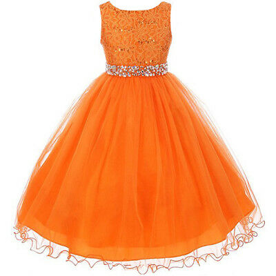 9f90c5c0e0 Orange Glitters Flower Girl Dress Rhinestones Belt Double Layer Wire Tulle  Skirt