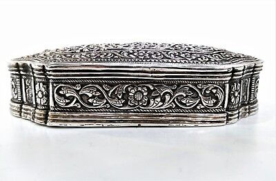 Antique Sri Lankan Silver Table Snuff Box, Smiling Faces, Repousse Late 19Th C.