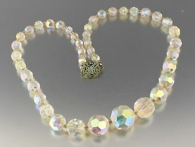Vintage 50'S Aurora Borealis Crystal Glass Graduated Bead Necklace