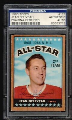 1966-67 TOPPS JEAN BELIVEAU  AS 2nd ALL-STAR  MONTREAL CANADIENS # 137 AUTO PSA