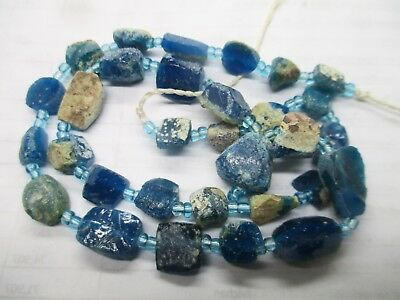 Ancient Blue Roman glass fragment beads 1000-2000 years old -G589