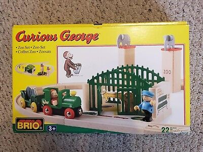 NEW RARE Curious George Zoo Set BRIO 92913 Wooden Train Set