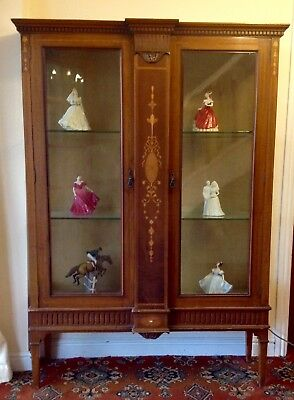 Victorian Art Nouveau Blond Mahogany Display Cabinet, Rosewood & Satinwood Inlay
