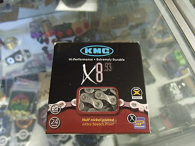 "KMC X8.93--6-7-8-21-24-SPEED 1/2"" x 3/32"" SHIMANO-SRAM MTB-ROAD CHAIN"