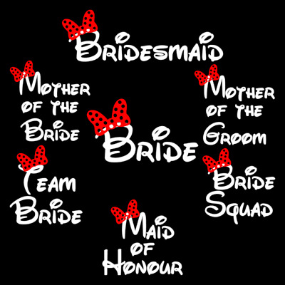 Disney Style Wedding Bride Hen Night Diy Iron On T-Shirt Transfers