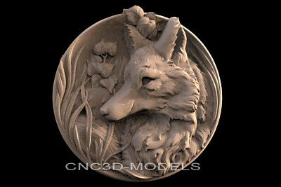 3D STL Models for CNC Router Engraver Carving Artcam Aspire Wolf Animal f519