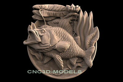3D STL Models for CNC Router Engraver Carving Artcam Aspire Fish Fishing f521