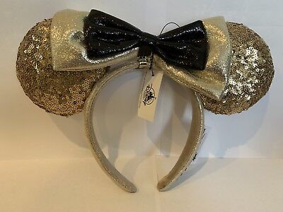 Disney Parks Mickey Minnie Mouse 90th Anniversary Gold Sequin Ears Headband NEW