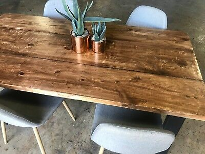 DINING KITCHEN TABLE Reclaimed Wood Metal Legs Primitive ...