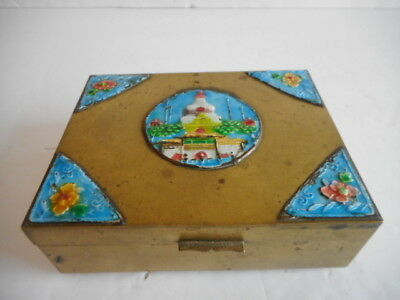 Chinese Brass and Enamel Wood Lined Cigarette/Trinket Box