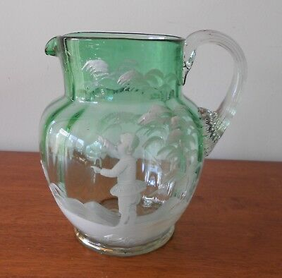 Antique Victorian Mary Gregory Rare Blue Green to Clear Glass Jug 18cm C1890s
