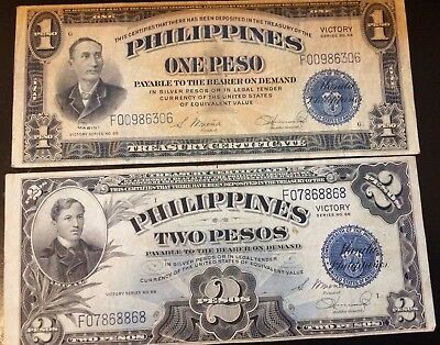 1944 1 & 2 Silver Pesos Philippines Currency Victory Banknote Wwii