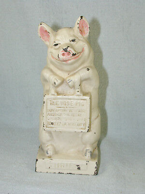 Hubley THRIFTY THE WISE PIG Cast Iron Still Bank / Door Stop