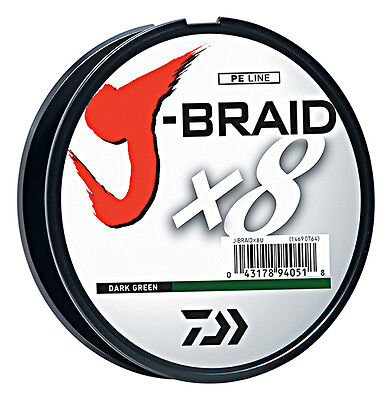 Daiwa J-Braid X8 Braided Fishing Line - 330 Yards (300M) Dark Green Fishing Line