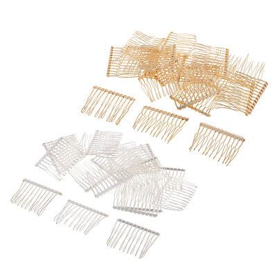 40x Plain Hair Combs Slides Pin Side Combs Veil Headpiece for Bride Wedding